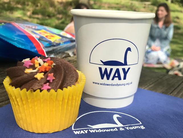 A WAY coffee cup and a cupcake at the Big Picnic